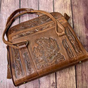 VTG PYMSA Mexican Leather Tooled Purse Handbag